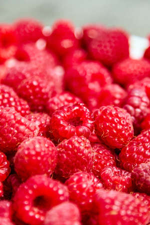 Fresh raspberries, heap of red ripe summer berries closeup