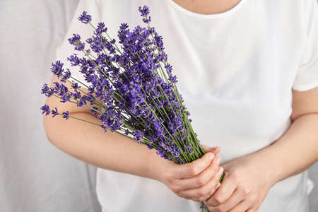 Natural lavender bunch in woman hands