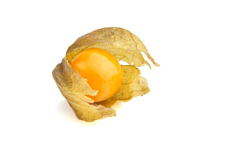 Goldenberry, Physalis peruviana ripe fruit (Single ground cherry, Cape gooseberry, husk tomatoes, Pichuberry), one smooth berry with dry leaves isolated on a white background Stock fotó