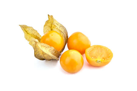 Physalis peruviana berries, ripe fruit cut in half, whole and halved goldenberries with dry leaves (groundcherries, Cape gooseberry, husk tomatoes) isolated on a white background Stock fotó