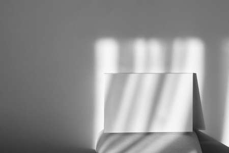 White canvas mockup on shelf on wall with shadows. Blank picture. Stretched cotton canvas Standard-Bild