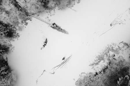 Winter forest with snowy trees, aerial view. Winter nature, aerial landscape with frozen river, trees covered white snow. Black and white photography Standard-Bild