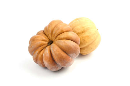 Pumpkins isolated on white background. Two whole orange color ribbed pumkins 免版税图像