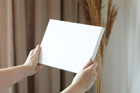 Blank canvas in female hands, picture mockup. Woman hanging canvas on white wall in interior with dry grass and beige curtains