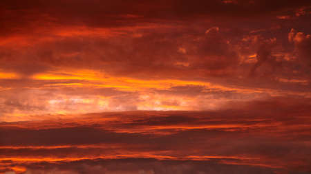 Red sunset sky with dramatic clouds. Scenic clouds illuminated by red sunlight 免版税图像