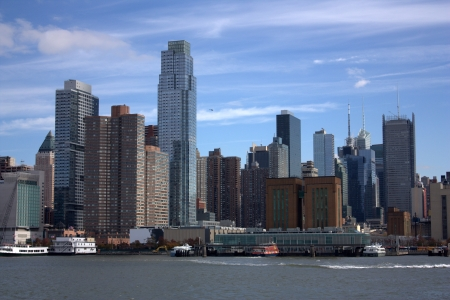 hurricane sandy: New York skyline from the river Stock Photo