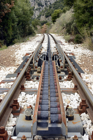traction: Cog traction transition of abt system at Diakofto-Kalavryta railway in Greece