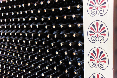 wine stocks: Stacked Wine bottles at a winery