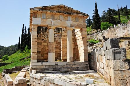 treasury: Athenian Treasury at Delphi next to the bouleuterion and polygonal wall