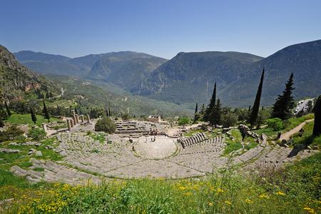 apollo: View of Delphi Theater, temple of apollo and valley