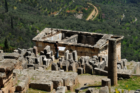 athenians: Roof of Treasury of Athenians and ruins at Asklepeion site in Delphi