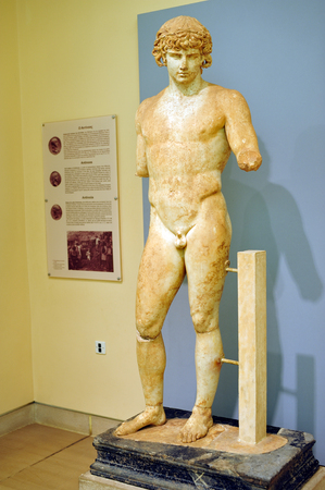 delphi: Delphi, Greece - April 17, 2009: The Roman marble statue of Antinoos at the Delphi archaelogical museum Editorial