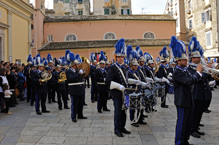 lament: CORFU, GREECE - APRIL 18, 2009: Philharmonic musicians in the customary lament procession on the morning of Holy Saturday, at the old town of Corfu.
