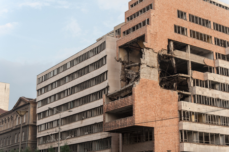 bombed: Bombed Ministry of Defence building in Belgrade during the NATO strikes in 1999, kept as a reminder Editorial