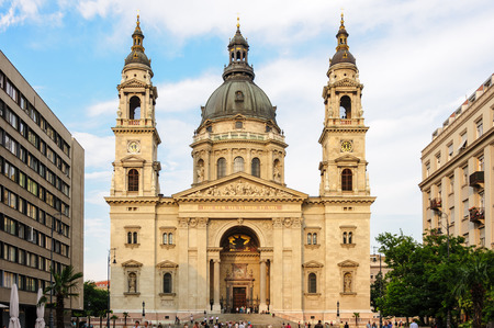 stephen: Facade of the Saint Stephen cathedral in Budapest