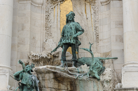matthias: Bronze sculpture of Matthias Corvinus, king of hungary, leading a hunting party at the Matthias fountain. Stock Photo
