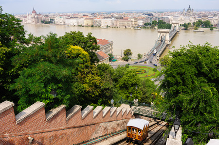 szechenyi: View of Budapest with the Funicular, the Szechenyi chain bridge, Adam Clark square and the Parliament, all in one shot