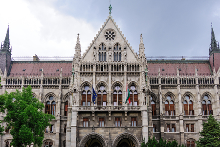 gothic revival: Gothic Revival portico of the Budapest parliament