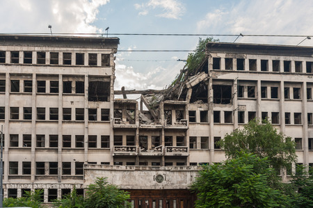 allied: Bombed Ministry of Internal Affairs building in Belgrade during the NATO strikes in 1999, kept as a reminder Editorial