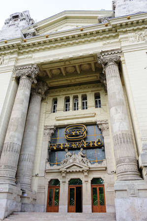 housed: BUDAPEST, HUNGARY - JUNE 29, 2009: Former Stock Exchange building which later housed the Hungarian National Television