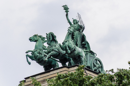 sculptural: The Spirit of Enlightenment sculptural composition on top of the Ethnographic Museum in Budapest
