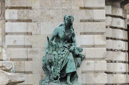 helen: Bronze statue of Helen the Fair Szep Ilonka by Alajos Strobl next to the Matthias Corvinus fountain.