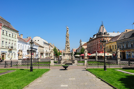 plague: KOSICE, SLOVAKIA - JULY 1, 2009: The Plague Column monument and statues at the main square