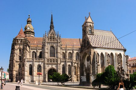 elisabeth: KOSICE, SLOVAKIA - St. Elisabeth cathedral and St. Michael chapel at main square Stock Photo