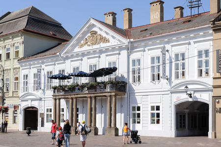 stare mesto: KOSICE, SLOVAKIA - JULY 1, 2009: 19th century classicist Csaky-Dessewffy Palace which is also nicknamed the �palace of the books� at the main square Editorial