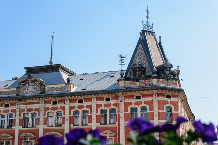 main street: Close-up of the Andrassy Palace facade and roof on main street