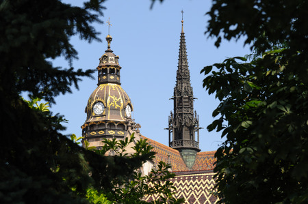 elisabeth: St. Elisabeth Cathedral high gothic helmet with clocks and tower built in 1378 in Kosice