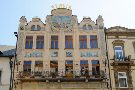 stare mesto: KOSICE, SLOVAKIA - JULY 1, 2009: Art Nouveau facade of the Slavia hotel on main street Editorial