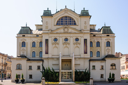 stare mesto: Neo-baroque State theater rear view at the heart of main square