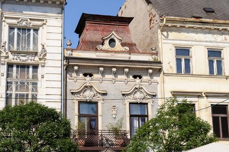 stare mesto: KOSICE, SLOVAKIA - Facade at 84 Hlavna main street Stock Photo
