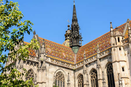 stare mesto: St. Elisabeth Cathedral high gothic tiled roof and tower built in 1378 in Kosice Stock Photo