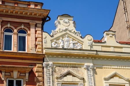 main street: KOSICE, SLOVAKIA -Facade apex decorative relief at 46 Hlavna main street