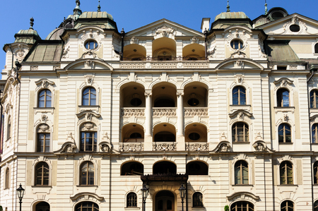 adolf: Neo-baroque State theater side facade at the heart of main square Editorial