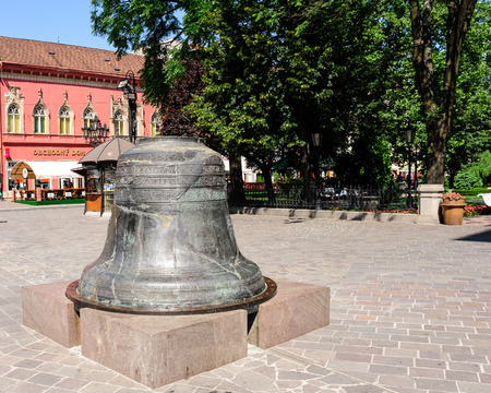 stare mesto: KOSICE, SLOVAKIA - JULY 1, 2009: The big Saint Urban Bell damaged from a fire in 1557 at the main square