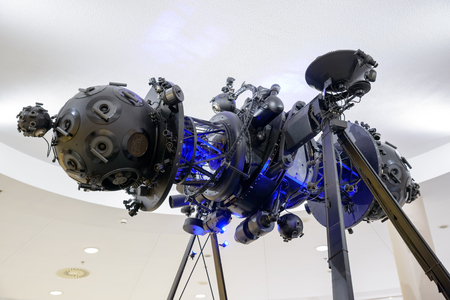 planetarium: ATHENS, GREECE - MARCH 13, 2016: An old decommissioned Zeiss Mark IV planetarium projector, 6 meters long, weighing 2500 kg, with 150 projectors and 29000 parts.