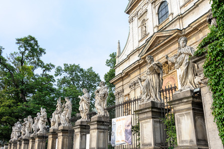 Statue of twelve apostles in front of Saints Peter and Paul church