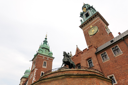 Tadeusz Kosciuszko monument, Sigismund tower and clock tower at Wawel