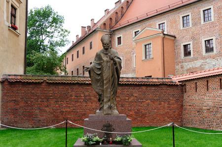 anointed: Statue of Karol Wojtyla anointed Pope John Paul II at Wawel