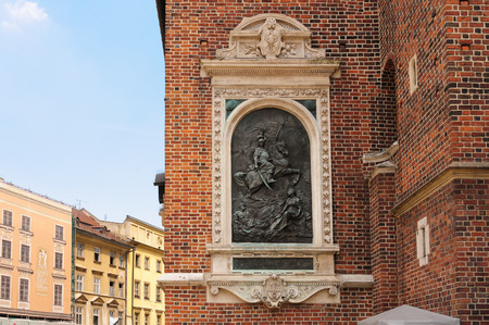 sobieski: Bronze relief plaque on the exterior of St. Mary Cathedral dedicated to John III Sobieski, king of Poland from 1674 to 1696 Stock Photo