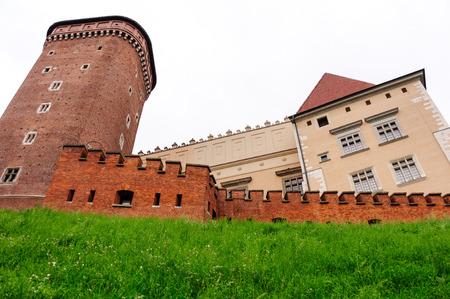 senator: Senator brick tower, Wawel brick wall and Wawel castle Stock Photo