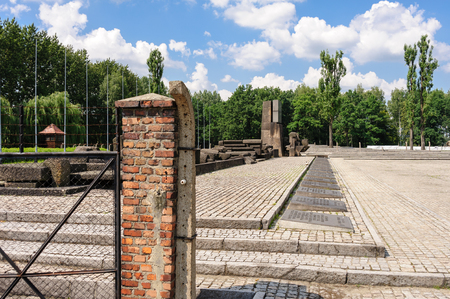 death camp: Auschwitz II - Birkenau International Monument to the Victims of Auschwitz at the end of the rail tracks