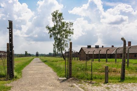 barracks: Auschwitz II - Birkenau path from rail ramp to womens barracks at Sector Ia and Sector Ib Editorial