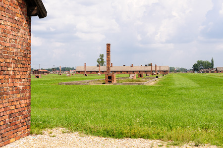 death camp: Auschwitz II - Birkenau heating ovens and chimneys reconstructed from the scattered ruins