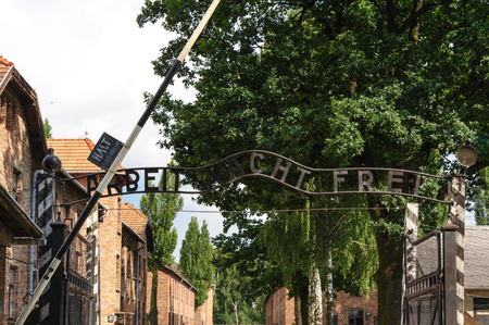 macht: Auschwitz I - Birkenau; from the reception building, prisoners would proceed through the Arbeit Macht Frei gate Editorial