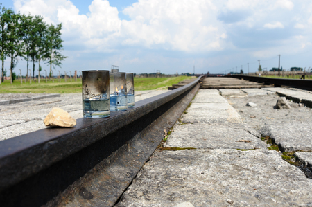 birkenau: Auschwitz II - Birkenau lit oil candles placed at the end of the rail tracks Editorial