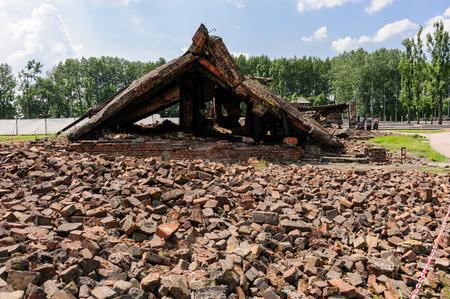 crematorium: Auschwitz II - Birkenau, ruins and part of the roof of the eastern wing of Crematorium II